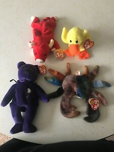 Rare 1st Edition 4 Beanie Babies from Original Set