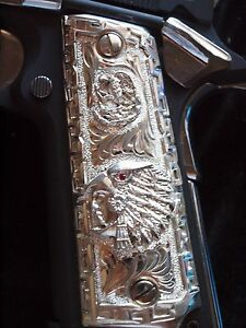 Caballero Aguila1911 Colt Full Size Solid .925 Sterling Silver Cachas Gun Grips