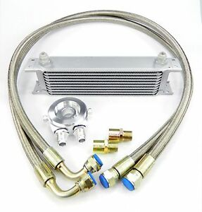 Universal FIT aluminum oil cooler kit with pipes with 10 rows ribs DASH 10