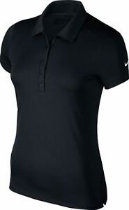 Nike NK241 black womens victory solid dri-fit polo shirt size XS-XL