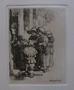 REMBRANDT quot;BEGGARS RECEIVING ALMSquot; Amand Durand Plate Signed Etching $199.99
