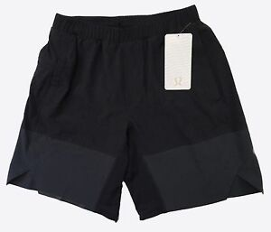 LULULEMON H32 Mens Black In Motion Athletic Running Lined Shorts Size M NWT