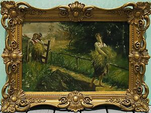 Eastern European School Dated 1906 Antique Oil Painting Signed