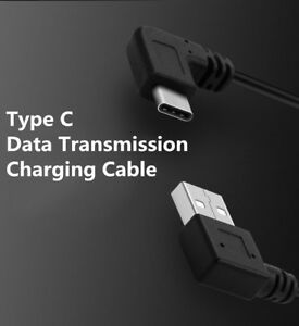 25CM Black 90 Degree Angle USB-C USB 3.1 Type-C Data Sync Charging Cable Cord
