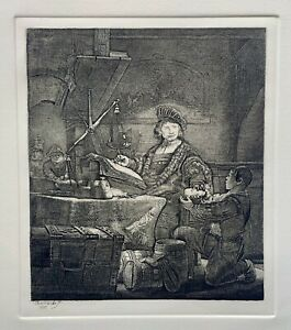 REMBRANDT quot;THE GOLDWEIGHERquot; Etching by Amand Durand Signed in the Plate $239.99