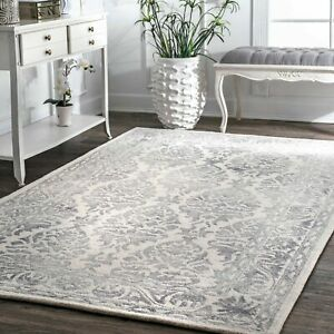 nuLOOM Hand Made Vintage Floral Wool Area Rug in Grey and Ivory $183.99