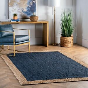 nuLOOM Contemporary Modern Simple Bordered Natural Jute Area Rug in Navy Blue $36.99