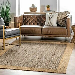 nuLOOM Contemporary Modern Simple Solid Bordered Natura Jute Area Rug in Grey $128.99