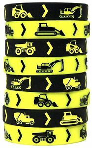 8 Deluxe Construction Zone Party Bracelet Wristband Construction Party Favors