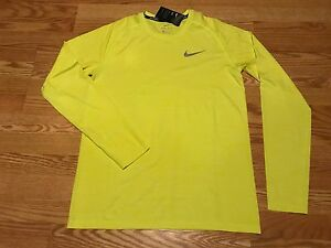 Nike Dri Fit volt green reflective run running shirt silver gray swoosh Dry L
