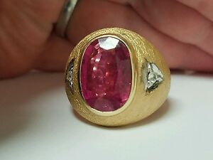 Mens Estate 14.2Ct. Tourmaline and Diamond Ring. HEAVY 14K Yellow Gold