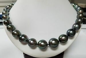 Black Tahitian South Sea Pearl 14k White Gold Choker Necklace