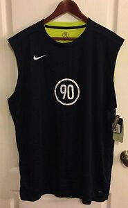 Sz XXL NWT Mens Nike 90 Dri Fit Blue Neon Yellow Football Sleeveless Shirt