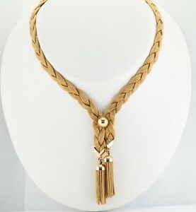 Tiffany & Co Tassel Mesh Chain Necklace Numbered 14K Yellow Gold Vintage
