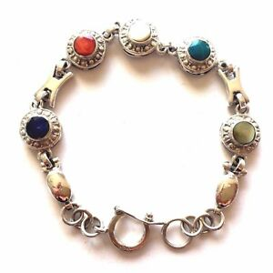 Sterling Silver 925 Women Bracelet Handmade Semiprecious Stones Natural New