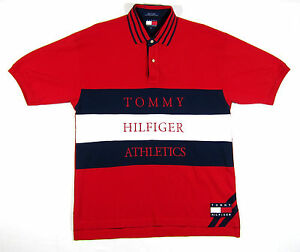 90S VTG TOMMY HILFIGER ATHLETICS POLO SHIRT SPORT SPELLOUT COLORBLOCK USA L
