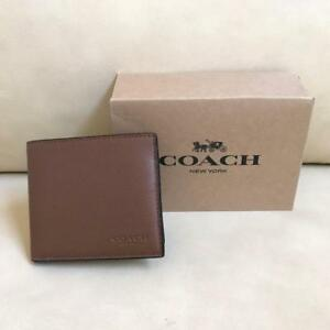 NEW Coach Men Leather Wallet Dark Saddle F75084