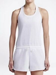 NWT $120 Nike XS Women Fleece Heather White Mesh Shorts Romper Dress Tennis