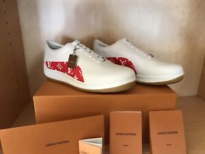 Supreme x Louis Vuitton Red & White Sport Sneakers LV Size 9 100% Authentic