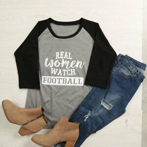 Women Lady Real Women Watch Football letter Print Raglan T-Shirt blouse top