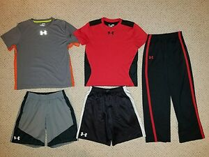 huge LOT 5 boys Under Armour fall winter BTS tops shorts pants size Large YLG