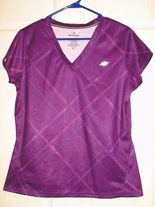 NORDIC TRACK Women's Purple Athletic Fitness Short Sleeve Shirt Size L EUC Cute