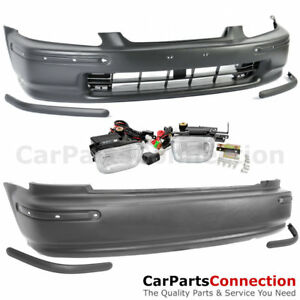JDM SIR F R Bumper Molding Winjet Clear Fog Lamp Kit For Civic 96-98 Hatch