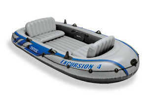Intex Excursion 4 Inflatable Raft Fishing Boat Set With 2 Oars Open Box