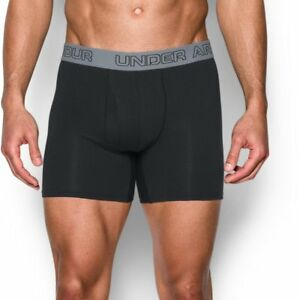 """Under Armour Charged Cotton Stretch 6"""" Boxerjock – 3-Pack MD Black"""