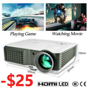 4000Lumen Video Projector LED 7000:1 Full HD 1080p Home Theater 2*HDMI LCD 2*USB