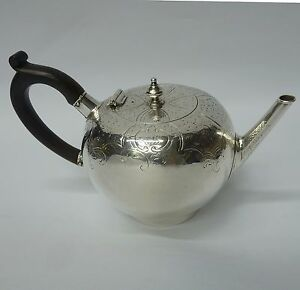 Antique Silver Bullet Teapot Made by DAVID HENNELL I London 1749. Stock ID 8967