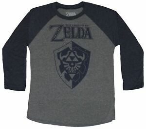 Legend of Zelda 3 4 Sleeve Mens T Shirt Blue Print Shield Under Logo $19.99