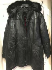 Women's Winter 100% Leather Lambskin Hooded faux fur jacket coat plus XL 2XL 3XL