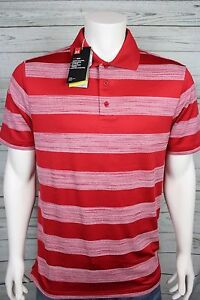 NWT Under Armour Heat Gear Golf Loose Fit UPF 30 Polo Shirt Red Stripe NEW