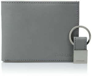 Calvin Klein Men's Calvin Klein Leather Bifold Wallet With Key Fob Cool Gray