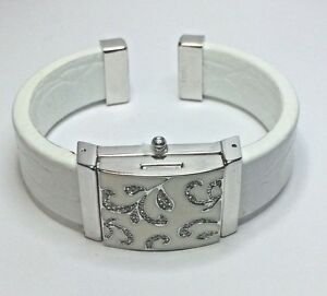 Filigree White Enameled Leather Band Bracelet Opens to a Watch by Victoria Wieck