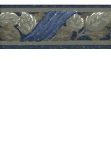 JOSEPH ABBOUD GRAY AND BROWN LEAVES WITH BLUE DRAPERY WALLPAPER BORDER