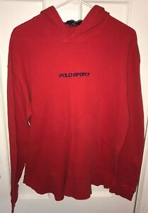 Polo Sport Ralph Lauren Waffle Long Sleeve Red Hooded Shirt Hoodie Mens L Large