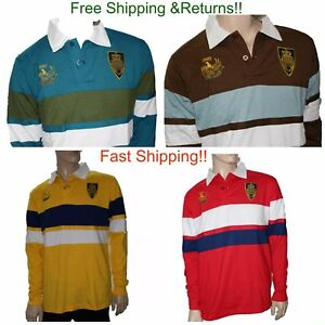 Mens Rugby Polo Sport Casual Shirt Long Sleeve Top Classic Cotton 3 Button Patch