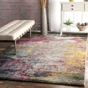 nuLOOM Contemporary Modern Abstract Area Rug in Multi Gray Pink Blue Yellow $78.99