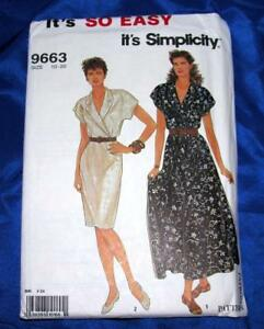 VTG SIMPLICITY SO EASY SEWING PATTERN 9663 SZ 10 TO 20 2 STYLES LADIES DRESS $8.69