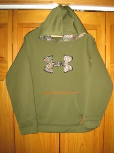 Under Armour Storm camo sweatshirt hoodie kids boys YXL green hunting