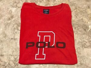 VTG 90s Polo Sport Ralph Lauren Big P Spell-Out Red Graphic T-Shirt Adult Sz XL
