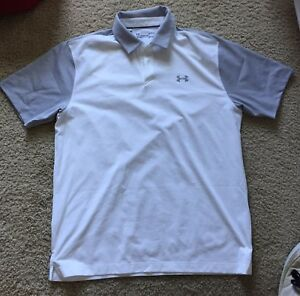 Under Armour Polo Threadborne Fastback Size Large White Grey Sleeve Golf Shirt