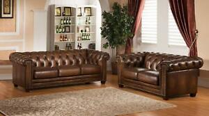 Top Grain Leather Sofa Set 2Pcs Hand Rubbed Amax Leather Stanley Park II Brown