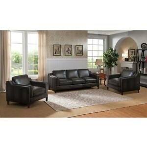 Dark Grey Top Grain Leather Sofa Chairs Set 3Ps Hand Rubbed Amax Leather Ballari