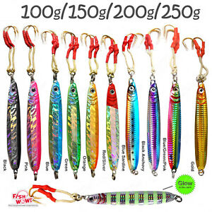Fish WOW! 1~20pcs 100g 150g 200g 250g Vertical Knife Fishing lures lot butterfly