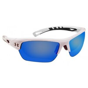 Under Armour *Octane* shiny white charcoal frame gray blue lens Free Shipping