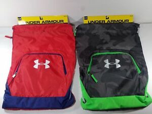 Under Armour Exeter II Sackpack Black Camovolt or Redblue Unisex Gym Workout