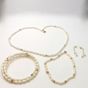 New 14k Gold Freshwater Pearl Necklace Bangle Bracelet Dangle Earrings Set